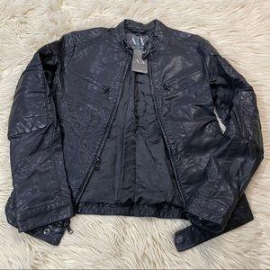 Armani Exchange Moto fitted leather jacket